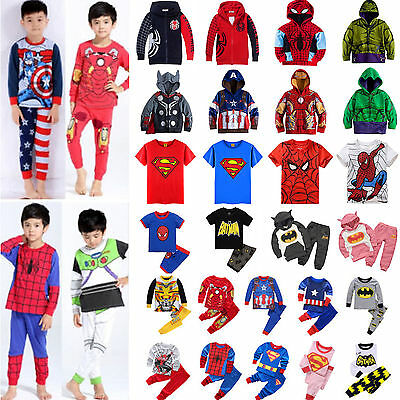 Marvel Superhero Kids Costume Bat Man Tops Pant Nightwear Pyjamas Outfit Outwear