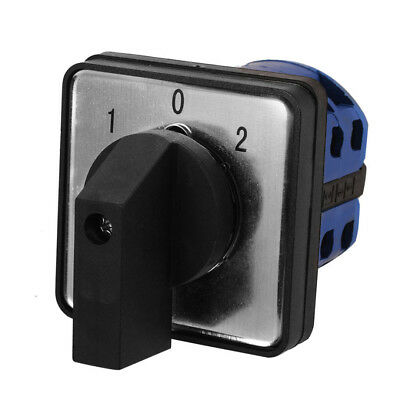 AC4400V 20A 3-Position Momentary Plastic Rotary Changeover Switch Blue + Screws