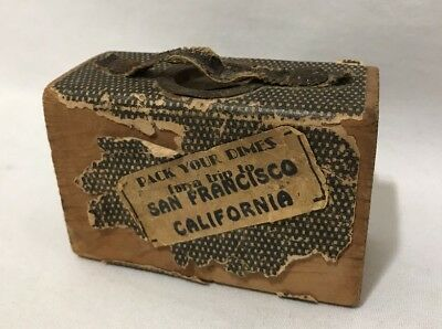 VTG Wood Block Coin Bank Pack Your Dimes San Francisco California Trip Suitcase