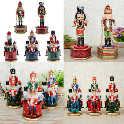 Multi Wooden Nutcracker Soldier Toy Music Box Home Christmas Decor Kid Xmas Gift