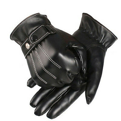 Fashion Men Winter Warm Faux Leather Gloves Cashmere Full Finger Driving Mittens