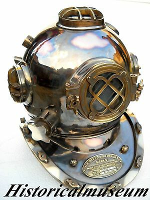 "Vintage Navy 18"" Diving Divers Helmet Mark V Copper Antique Boston Scuba Helmet"