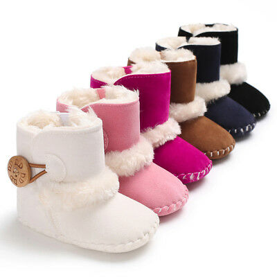 Newborn Baby Toddler Warm Boots Kids Boys Girls Winter Snow Fur Shoes 0-18Months