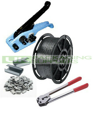 Hand Pallet Strapping Banding Kit 12Mm Wide Coil + Tension Sealer Tools + Seals