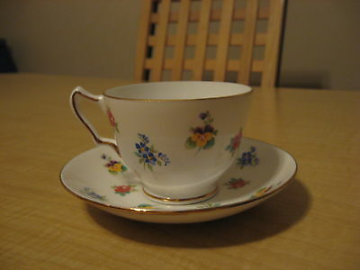Vintage Crown Staffordshire Fine Bone China,Tea Cup and Saucer. Made in England