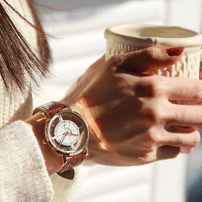 Fashion Womens Leather Dial Quartz Wrist Watch Ladies Casual Dress Watches