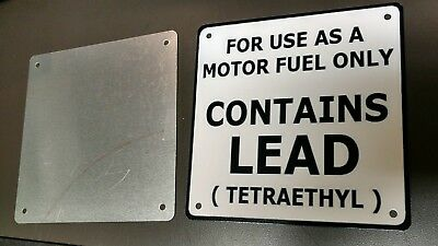 "CONTAINS LEAD gas pump rustproof plate sign..6""x 6""..WHITE background..2 of 3"