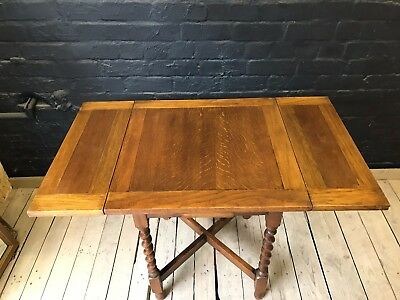 Lovely Vintage Antique Solid Oak Barley Twist Extendable Kitchen Dining Table