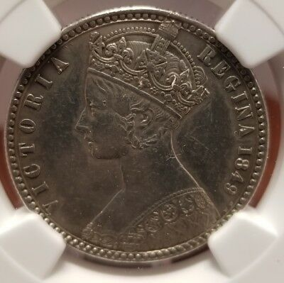 1849 GREAT BRITAIN 2 SHILLINGS NGC XF Detail VERY RARE GOTHIC COIN!!!