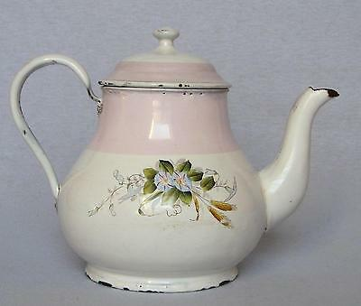 Vintage French Enameled Teapot ~ White w/Pink Band & Bouquet of Morning Glories