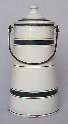 Vintage French Enamel Milk Pot Carrier with Handle ~ White with Dark Green Band