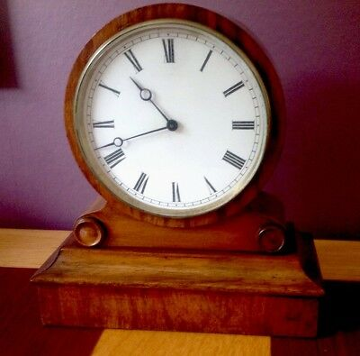 LOVELY WALNUT ANTIQUE FRENCH 8 DAY DRUMHEAD MANTLE CLOCK BY V.A.P. Brevete.c1890