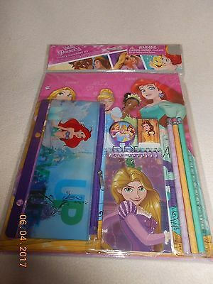 New Disney Princess 10 piece stationery set folders, pencils, case, Stocking St