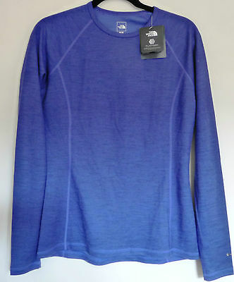The North Face Women's WARM BLENDED MERINO Wool  L/S Crew Top Base Layer Blue M