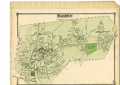 1875 Map of Malden, Mass. from Beers Atlas of Middlesex County w/family names