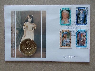 Turks & Caicos - 1990 Queen Mother 90th Birthday PNC Cover with Crown coin.