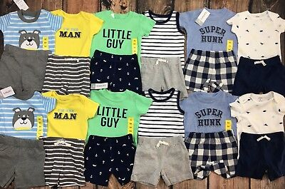 NWT Carters Huge Lot Twin Boys Baby Clothes Outfits Summer Shirts Shorts 6 Mo