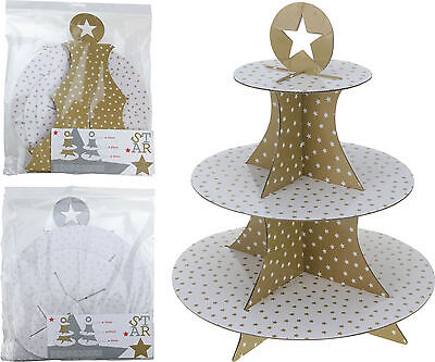 PACK OF 2 - 3 Tier Disposable Gold Silver Stars Cardboard Cup Cake Food Stand