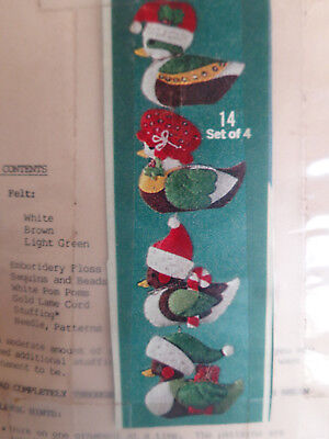 "VTG Duck Decoys In Santa Hats Ornament Kit ""Makes 4"" Beads & Sequins Sealed"