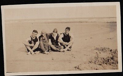 Old Antique Vintage Photograph Four Young Men Sitting on Beach