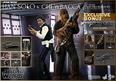 SIDESHOW HOT TOYS STAR WARS CHEWBACCA HAN SOLO 1/6th FIGURE A NEW HOPE Exclusive