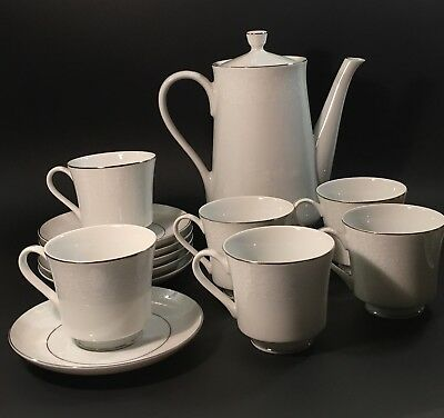 Crown Victoria Fine China Lovelace Pattern Coffee Pot & 6 Cup & Saucer Sets MINT
