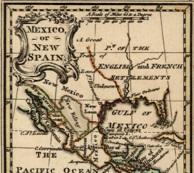 New Spain America English French colonies unexplored lands 1758 Newbery rare map