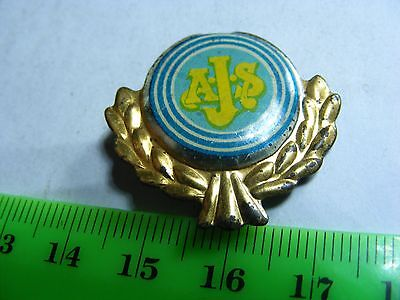 AJS..  motorcycle very old lapel,hat pin badge(A)