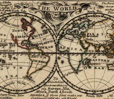 World hemispheres undiscovered North America Australia 1758 Newbery old rare map