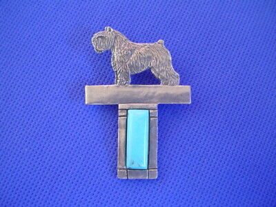 Bouvier des Flandres with Turquoise pin Pewter Dog Jewelry b Cindy A. Conter 43F
