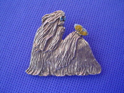 Shih tzu Pin Butterfly on Tail Dog Jewelry Pewter by Cindy A. Conter  44D