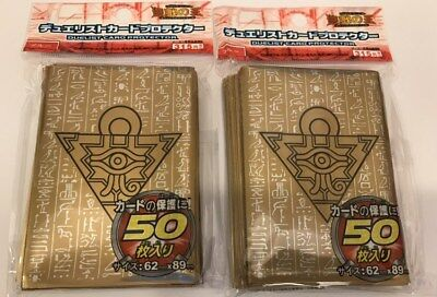 (100) YU-GI-OH Card Protectors Millenium Puzzle Card Sleeves Golden 63x90mm