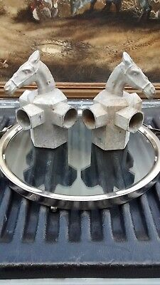 RARE! Vtg '3 WAY' Horse Head DIVIDERS Cast Aluminum Fence Post Toppers Caps