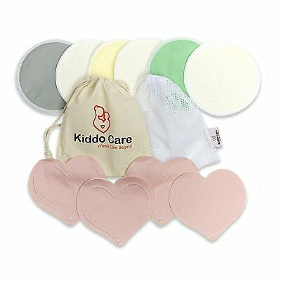 Kiddo Care Washable Organic Bamboo Nursing Pads -8 PACK 4 pairs- Reusable Breast