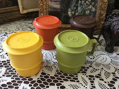 Retro Vintage Tupperware Travel Coffee Cups With Coasters