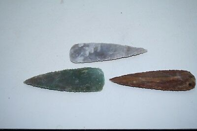 3 Stone Knife blades  .....  x3d7n .....Ornamental replica primitive tool...