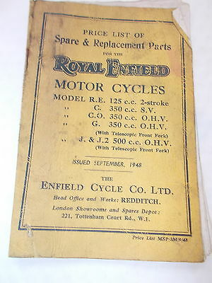 Spare & Replacement Parts Price List For ROYAL ENFIELD Motor Cycles -Sept. 1948