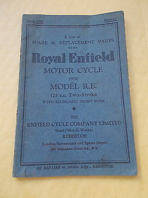 List of Spare & Replacement parts For The Royal Enfield 1950 MODEL R.E. 125 c.c.