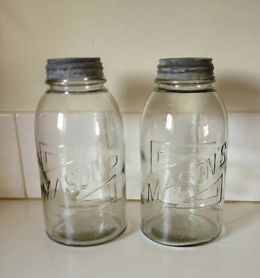 Vintage 2 x Large Original Masons Jars Collectable Preserving Kitchenalia #2