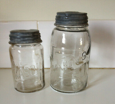Vintage 2 x Original Masons Jars Med & Sml Collectable Preserving Kitchenalia #3