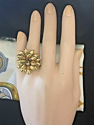 Vintage 18k Yellow Gold Large Cocktail Flower Ring Size 6.5 Italy  ARTIQULATED