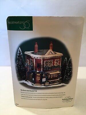 Dept 56 Dickens Village The Horse And Hounds Pub With Box & Light