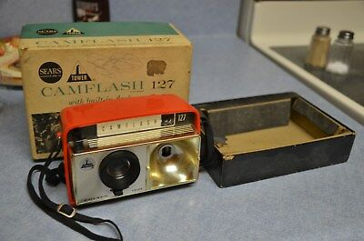 Vintage Red Rare Sears Tower Camflash Camera 127 in the Original Box