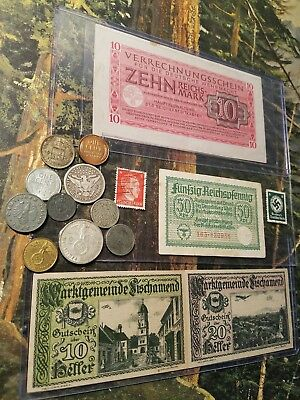 NAZI GERMANY OLD RARE BANKNOTES & SILVER -17pc LOT - Vintage WWII Money MUST SEE
