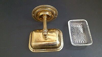 Vintage Solid Brass Soap Dish Wall Mount with Original Glass Insert