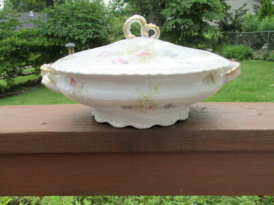 Antique Jean Pouyat Limoges Oval Covered Tureen Serving Bowl Pink Blue Floral