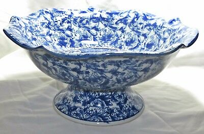 """Vintage Large Blue and White Bowl, Chinese Scenery w/ Floral ~ 12.5"""" Diameter"""