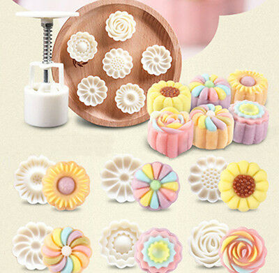 DIY 6 Style Stamps 50g Round Flower Moon Cake Mold Mould White Mooncake Decor EH