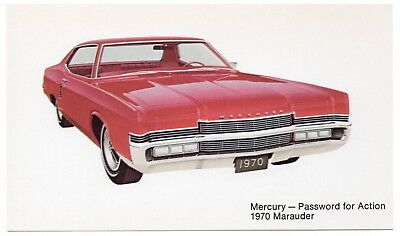 1970 Mercury MARAUDER 2-Door Hardtop Dealer Promotional Postcard UNUSED VG+/Ex ^