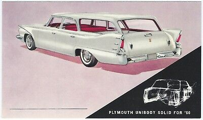 1960 Plymouth CUSTOM SUBURBAN 4-Dr WAGON Original Dealer Promo Postcard UNUSED